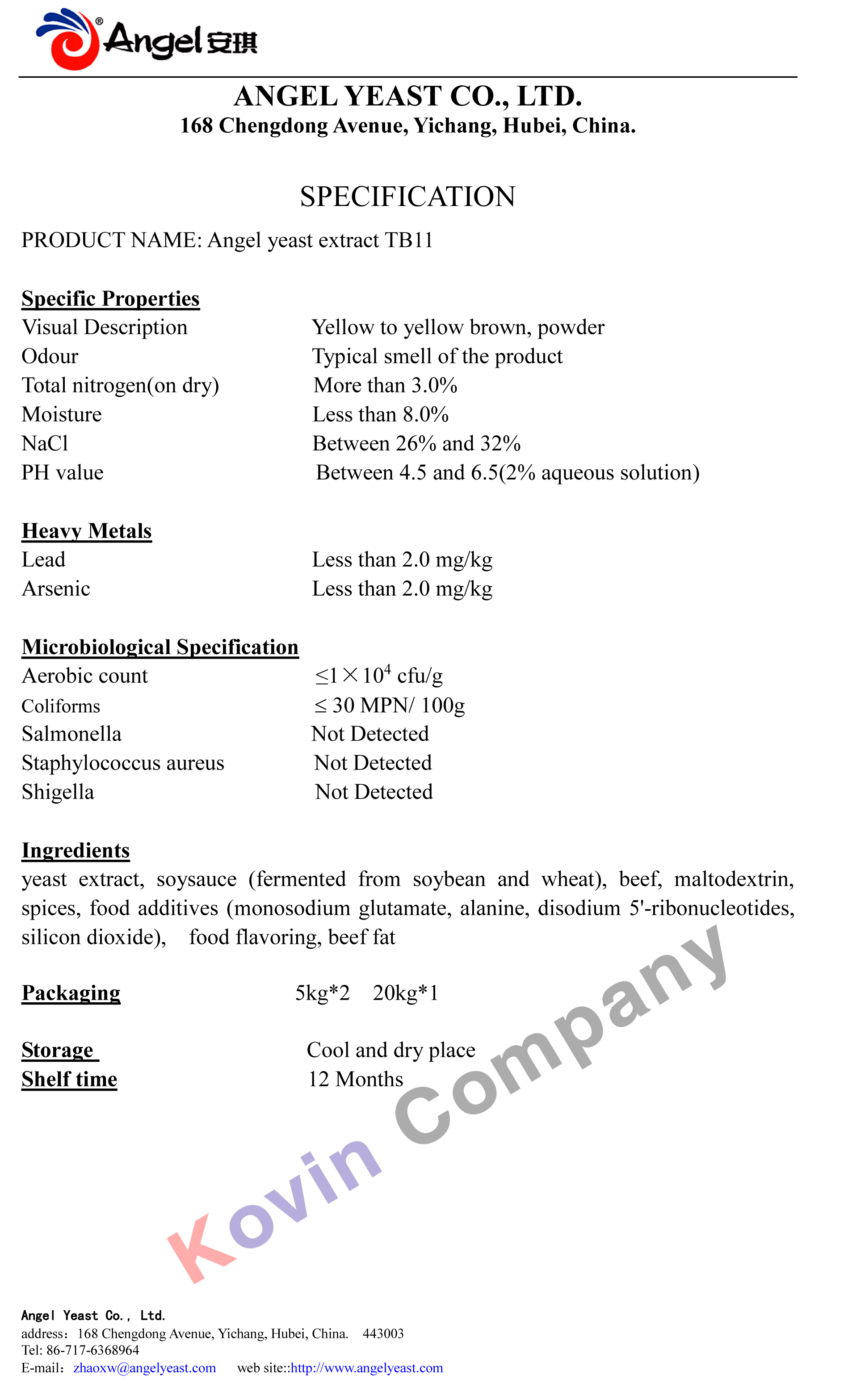 Yeast Extract TB11 Specification